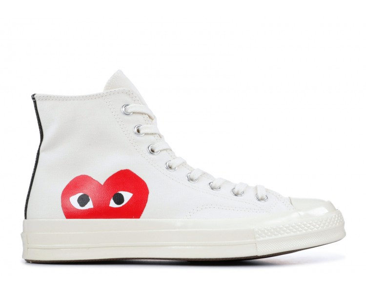 reputable site d8213 df9ce Comme Des Garcons x Converse Chuck Taylor All-Star 70s Hi Play White